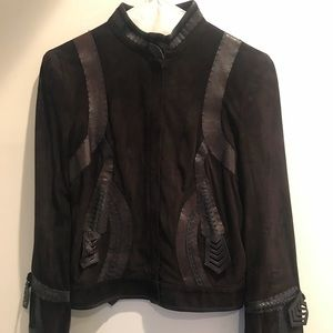 Fendi Brown Suede & Leather Moto Jacket Size Small